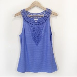 Anthropologie Aicra Periwinkle Lace TankTop Blouse
